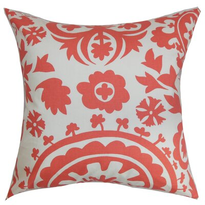 Darian Floral Floor Pillow Color: Coral/White