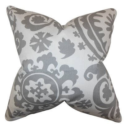 Darian Floral Floor Pillow Color: Gray