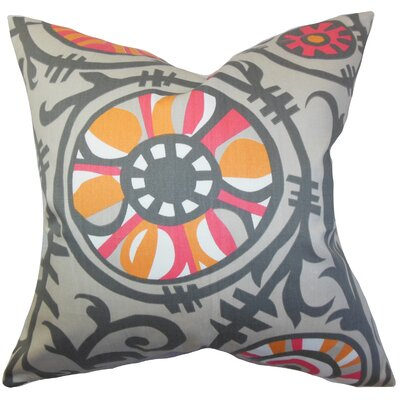 Brinsley Floral Floor Pillow Color: Gray