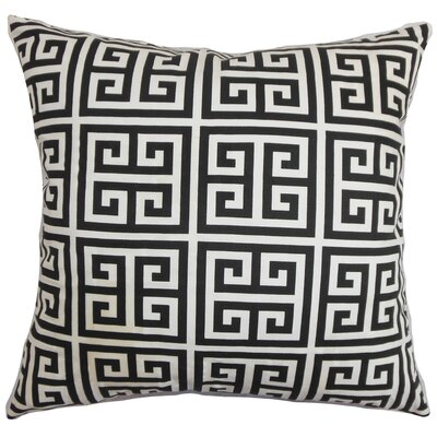 Kieffer Greek Key Floor Pillow Color: Black/White