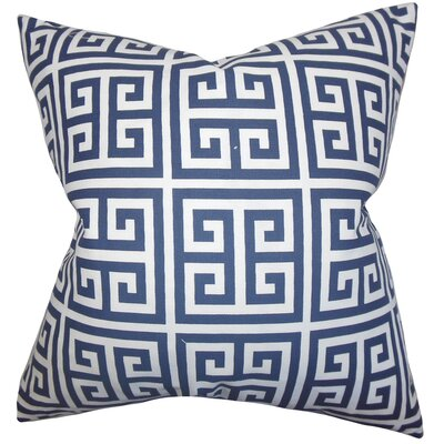 Kieffer Greek Key Floor Pillow Color: Navy Blue
