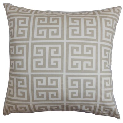 Kieffer Greek Key Floor Pillow Color: Gray/White