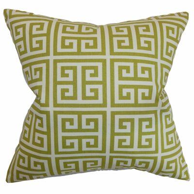 Kieffer Greek Key Floor Pillow Color: Green/Natural