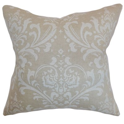 Kiara Damask Floor Pillow Color: Cloud Linen
