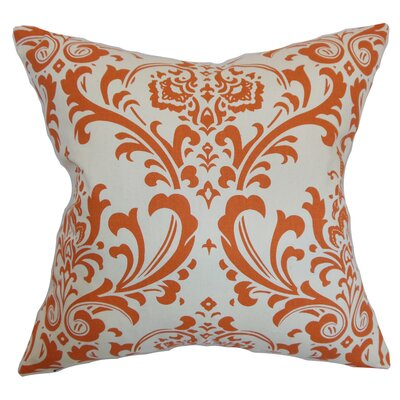 Kiara Damask Floor Pillow Color: Orange/Natural