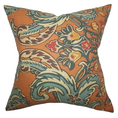 Delroy Floral Floor Pillow Color: Cinnamon