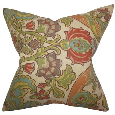 Delroy Floral Floor Pillow Color: Green/Brown