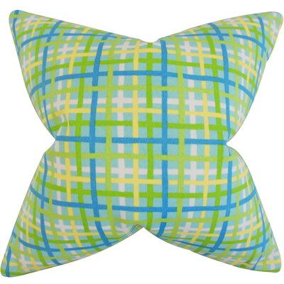 Sandwell Plaid Floor Pillow Color: Turquoise