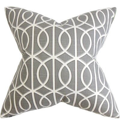 Aguero Geometric Floor Pillow Color: Gray/White