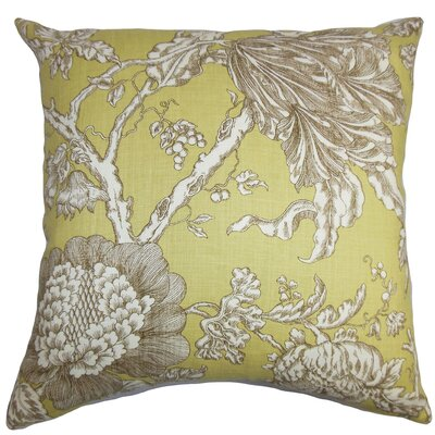 Chambord Floral Floor Pillow Color: Yellow/Brown