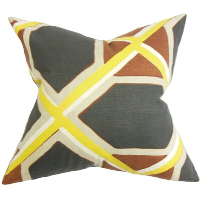 Foltz Geometric Floor Pillow Color: Black/Yellow