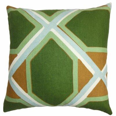 Bullis Geometric Floor Pillow Color: Green/Orange