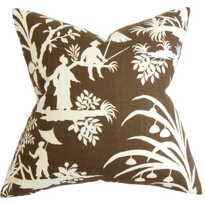 Delana Floral Floor Pillow Color: Brown