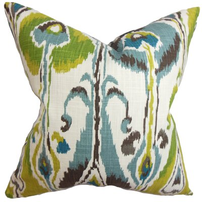 Dolson Ikat Floor Pillow Color: Blue/Green