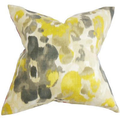Burlison Floral Floor Pillow Color: Yellow
