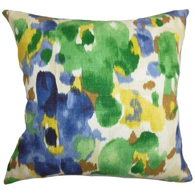 Burlison Floral Floor Pillow Color: Green/Blue
