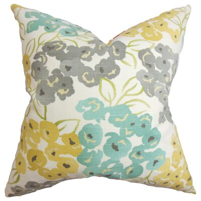 Joanne Floral Floor Pillow Color: Gray