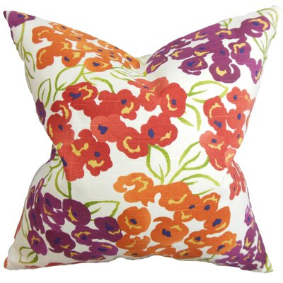 Joanne Floral Floor Pillow Color: Red