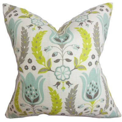 Mifflin Floral Floor Pillow Color: Gray/Green