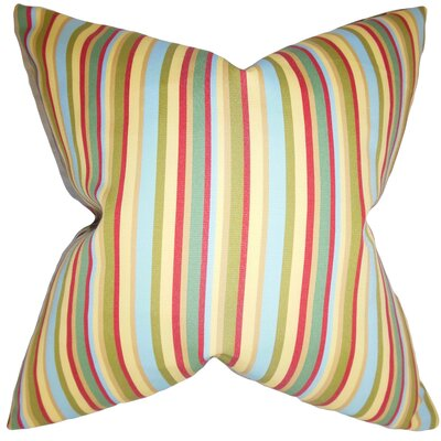 Deidamia Stripes Floor Pillow Color: Green/Red