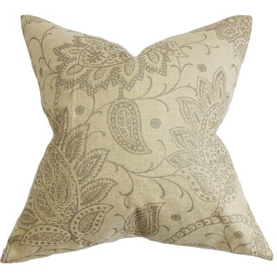 Brinkworth Floral Floor Pillow Color: Tan
