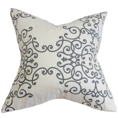Paulding Floral Floor Pillow Color: White/Gray