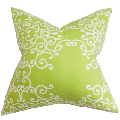 Grimaldi Floral Floor Pillow Color: Green/White