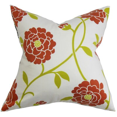 Ashton Ridge Floral Floor Pillow Color: Red