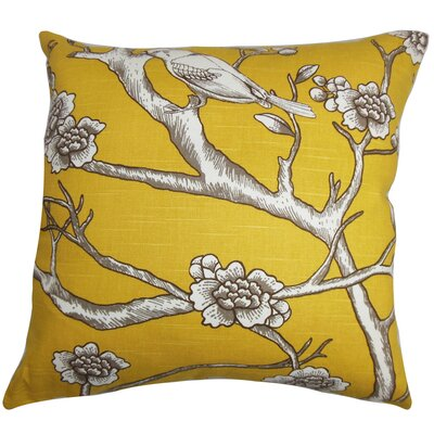 Mangels Floral Floor Pillow Color: Yellow/Brown