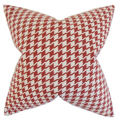 Krieger Houndstooth Floor Pillow Color: Red