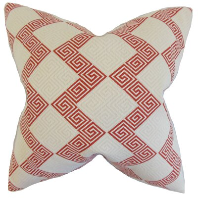 Heckman Geometric Floor Pillow Color: Crimson