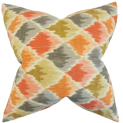Edmundo Geometric Floor Pillow Color: Orange/Gray