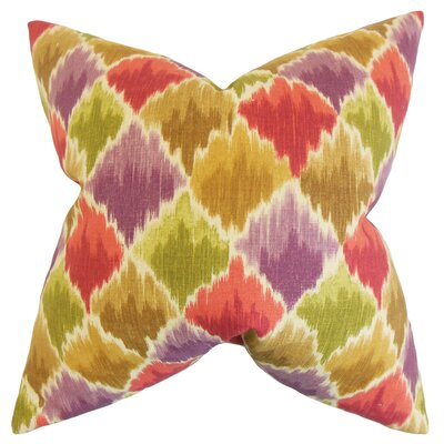 Edmundo Geometric Floor Pillow Color: Green/Red