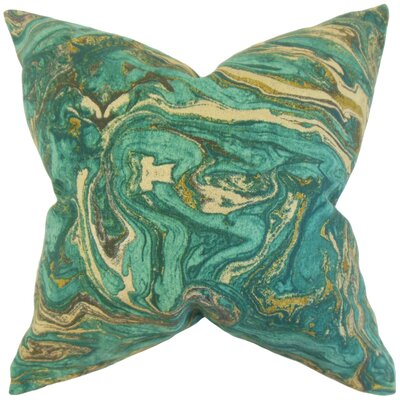 Malia Geometric Floor Pillow Color: Aqua/Gold