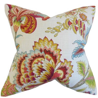Perrin Floral Floor Pillow Color: Coral