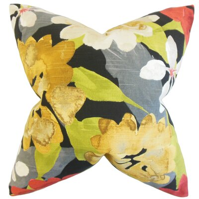 Dunklin Floral Floor Pillow Color: Yellow