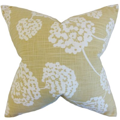 Jillian Floral Floor Pillow Color: Citron