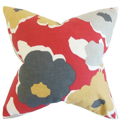 Reyna Floral Floor Pillow Color: Red Laquer