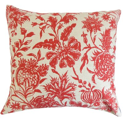 Peterman Floral Floor Pillow Color: Red