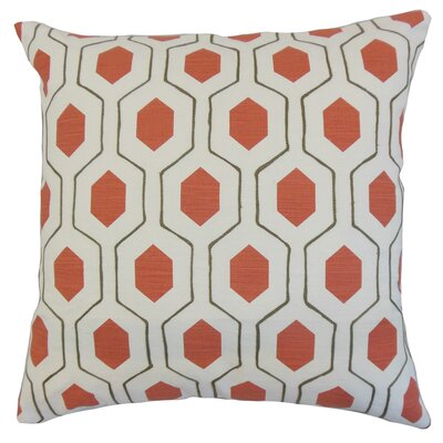 Quinton Geometric Floor Pillow Color: Poppy