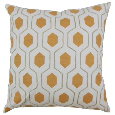 Quinton Geometric Floor Pillow Color: Pumpkin
