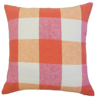 Brayden Plaid Floor Pillow Color: Berry