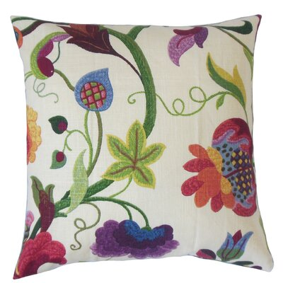 Salem Floral Floor Pillow Color: Red Jade