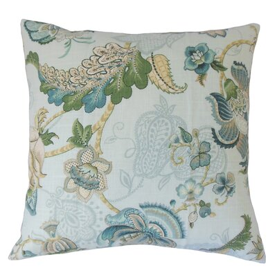 Perrodin Floral Floor Pillow Color: Aqua Green