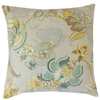 Perrodin Floral Floor Pillow Color: Platinum Olive