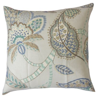 Perron Floral Floor Pillow Color: Aqua Cocoa