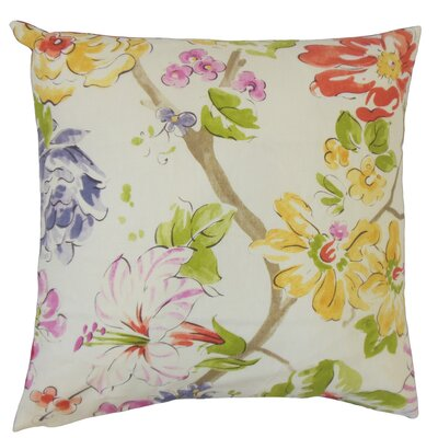 Sage Floral Floor Pillow Color: Pink/Green