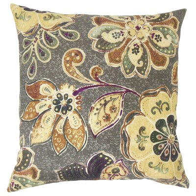 Casteel Floral Floor Pillow Color: Sepia