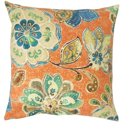 Ellzey Casteel Floral Floor Pillow Color: Henna