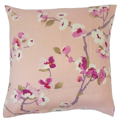 Albertine Floral Floor Pillow Color: Flamingo